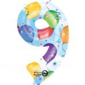 Picture of Globo número 9 globos y confeti gigante
