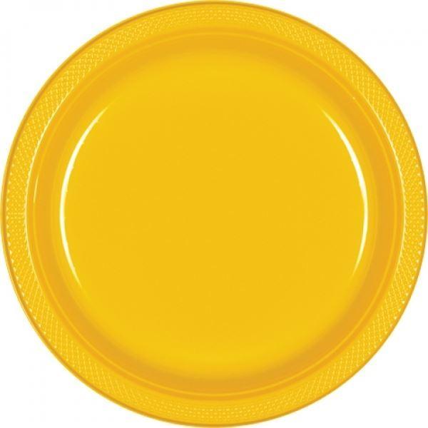 Imagen de Platos amarillos plástico grandes (10)