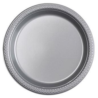 Imagens de Platos plata plástico pequeños (10)