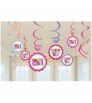 Picture of Decorados espirales Happy Birthday girl