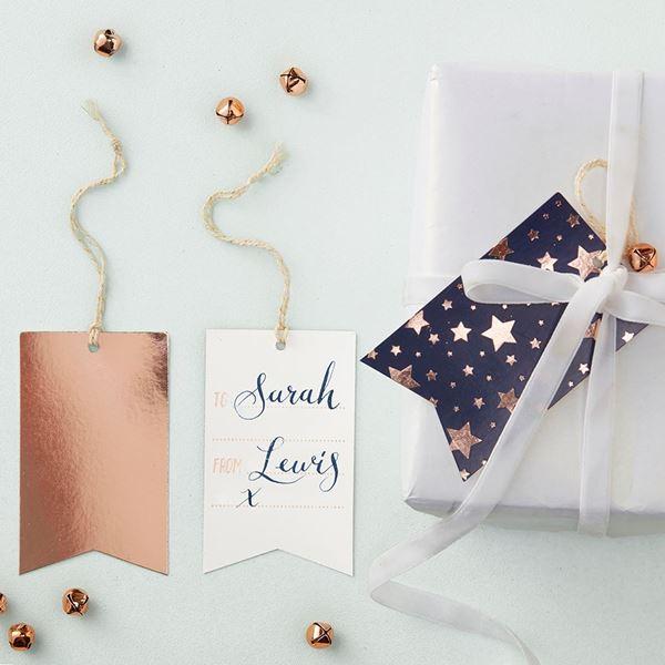 Imagen de Etiquetas estrellas rosa dorado (10)