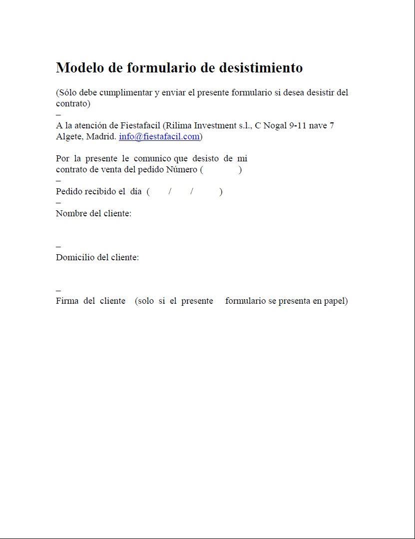 Comprar modelo de formulario de desistimiento online al for Formulario desistimiento