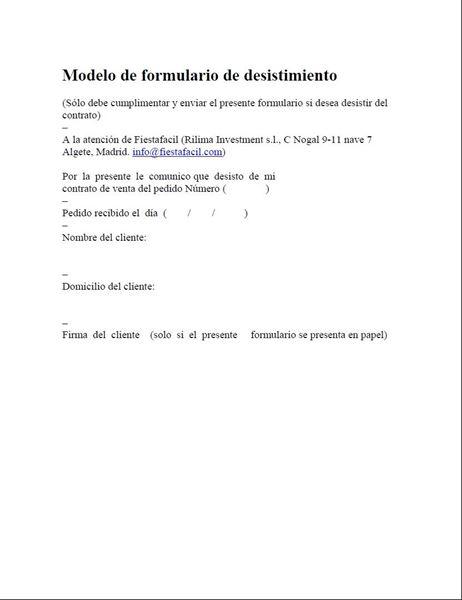 Picture of Modelo de formulario de desistimiento