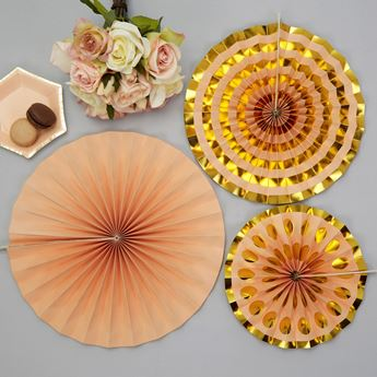 Imagen de Decorados abanico rosa y oro (3)