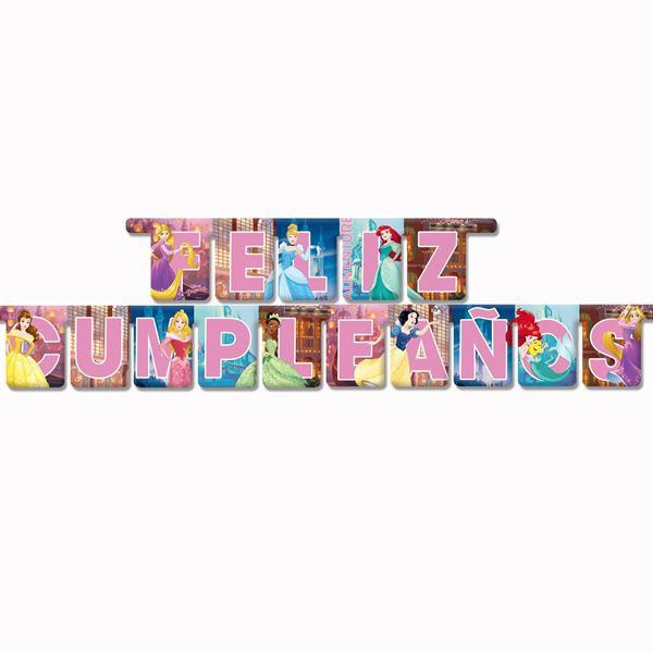 Imagen de Banner feliz cumpleaños princesas Disney