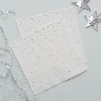Imagen de Servilletas coctel estrellas plata (20)