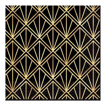 Imagen de Servilletas negras & dorado glamour grandes (16)