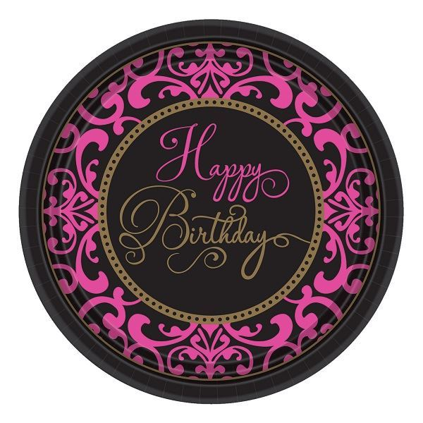 Picture of Platos Happy Birthday rosa y negro (18)