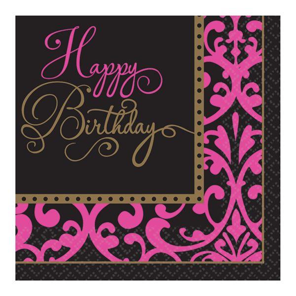 Imagens de Servilletas Happy Birthday rosa y negro (36)