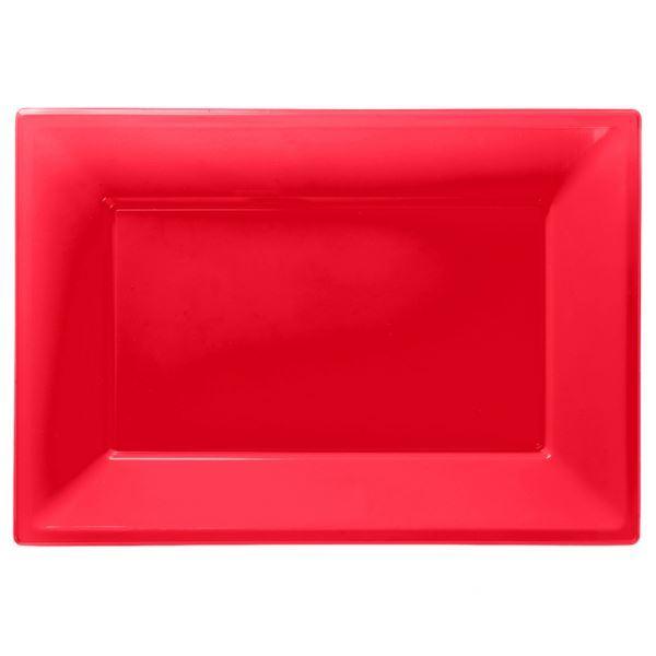 Imagen de Bandejas rojas plástico (3)
