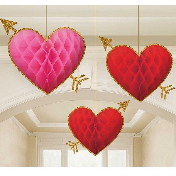Imagen de Decorados colgantes nido abeja corazones (3)