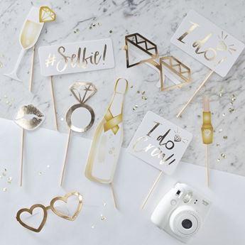 Imagen de Accesorios photocall palito boda dorado (10)