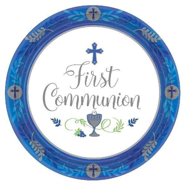 Imagen de Platos mi primera comunión azul 26cm (18)