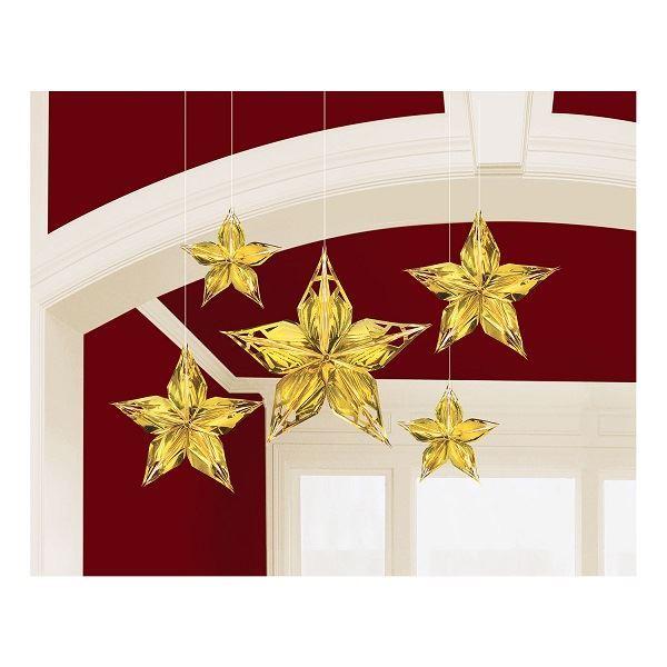 Imagen de Decorados colgante 3D estrellas doradas (5)
