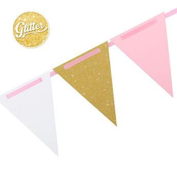 Imagen de Banderín dorado blanco y rosa (3m)