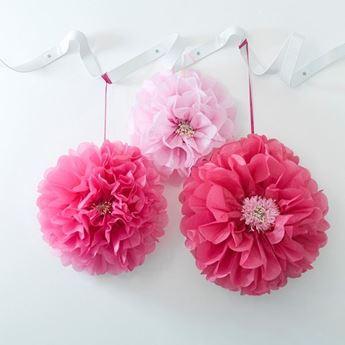 Imagen de Pompón flores rosado (3)