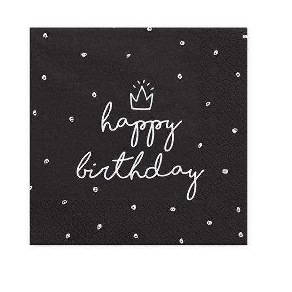 Imagen de Servilletas Happy Birthday dulce color negro (20)