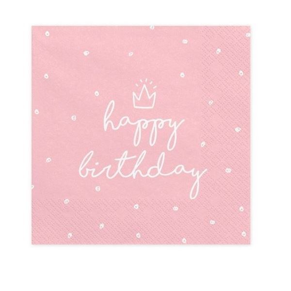 Imagen de Servilletas Happy Birthday dulce color rosa (20)