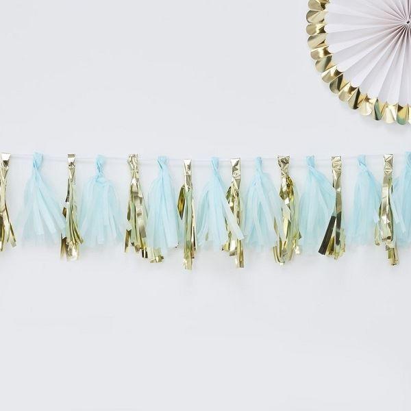 Imagens de Guirnalda borlas dorada y azul