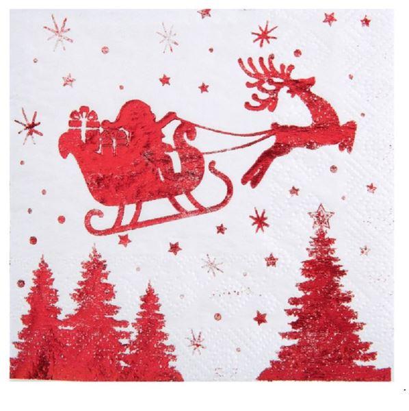 Imagen de Servilletas Santa Claus trineo rojo (20)