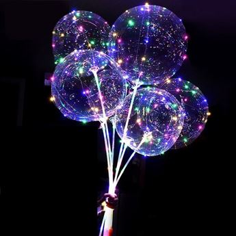 Picture of Pack completo globo 45cm burbuja transparente con leds (1)