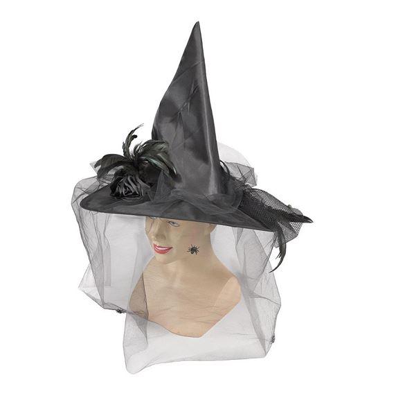 Picture of Gorro bruja con velo lujoso