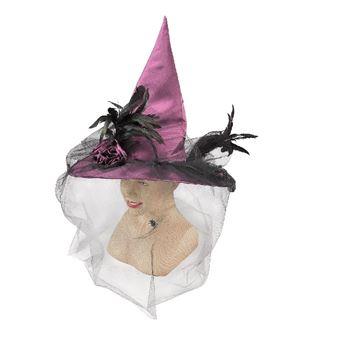 Imagens de Gorro bruja con velo color morado