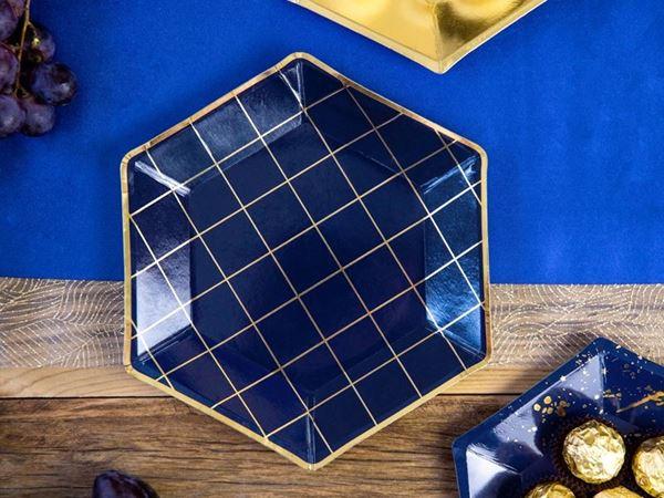 Imagen de Platos azul marino y dorado (6)