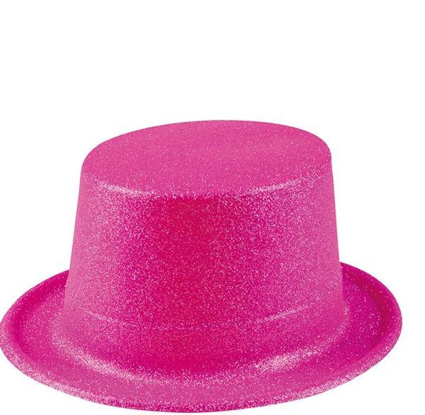 Imagen de Chistera rosa plástico purpurina