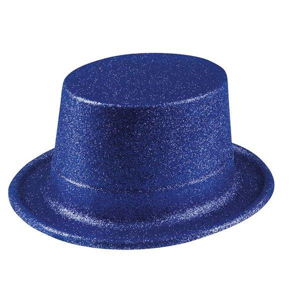 Imagen de Chistera azul plástico purpurina