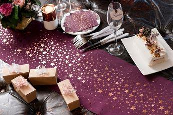 Imagens de Camino de mesa burdeos estrellas