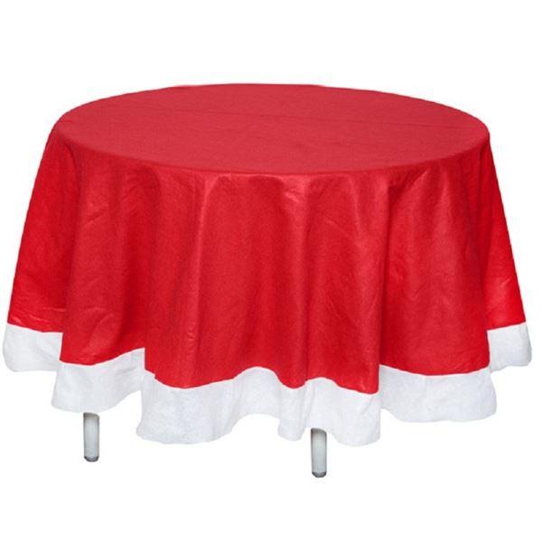 Picture of Mantel redondo Navidad rojo y blanco