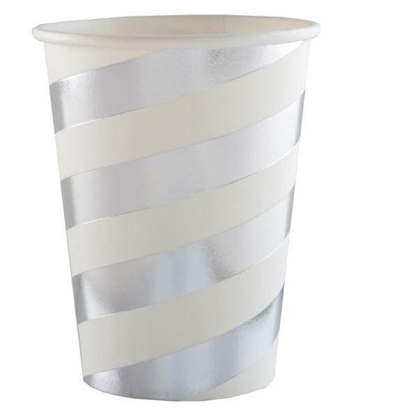 Imagen de Vasos rayas plateadas deluxe (10)