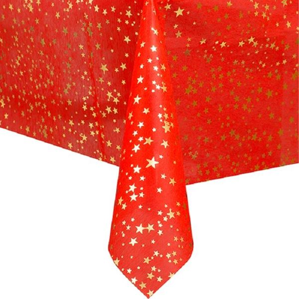 Picture of Mantel rojo con estrellas navideño