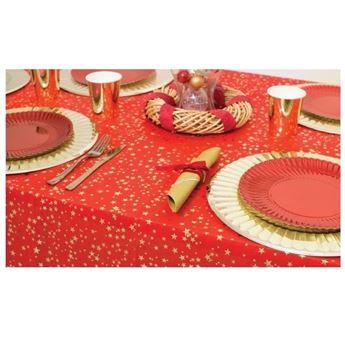 Imagen de Mantel rojo con estrellas navideño