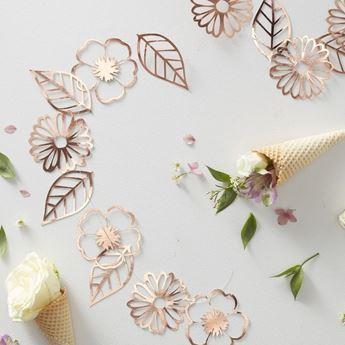 Imagen de Guirnalda flores rosa dorado