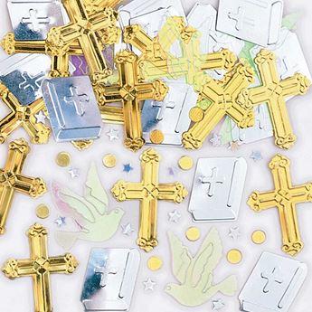 Imagen de Confeti cruz dorada y plata (14g)