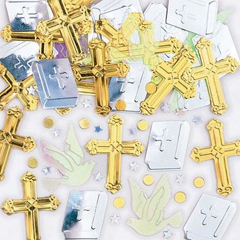 Imagens de Confeti cruz dorada y plata (14g)