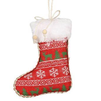 Imagen de Adorno calcetín navidad renos rojo