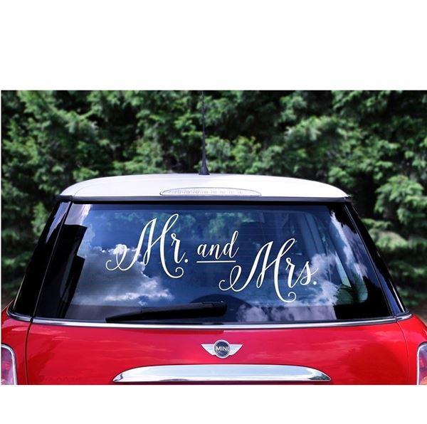 Imagen de Pegatina coche novios Mr. & Mrs.