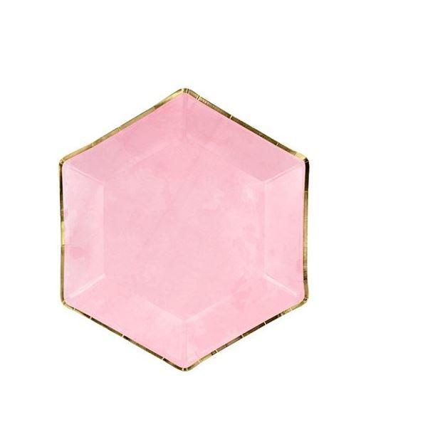 Imagens de Platos Rosas hexagonales borde dorado (6)
