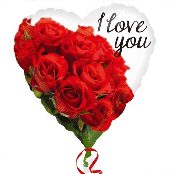 Picture of Globo I love you rosas rojas
