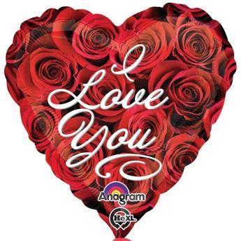 Imagen de Globo corazón rosas rojas