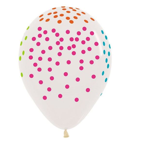 Picture of Globos Transparentes puntos Multicolor (12)