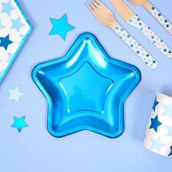 Imagens de Platos estrella azul pequeños (8)