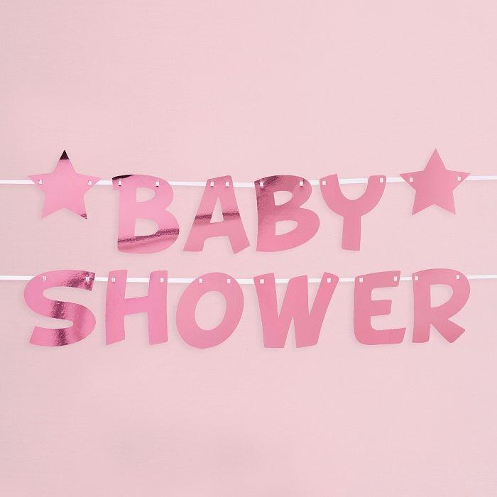 58c04881c Guirnalda Baby Shower Rosa Estrellas✅ por sólo 7