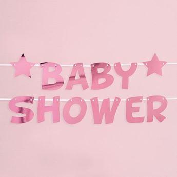 Imagen de Guirnalda Baby Shower Rosa Estrellas