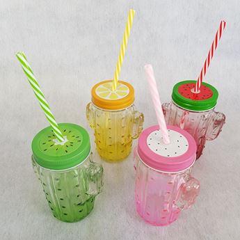Imagens de Jarra de cristal cactus con tapa de frutas colores