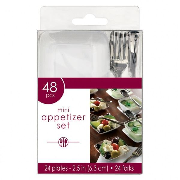 Imagen de Set plato y tenedor mini aperitivos