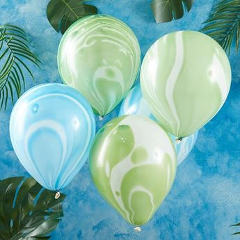 Picture of Globos Latex mármol azul y verde (10)